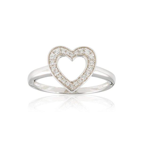 Zilveren damesring met symbool - hart met zirkonia