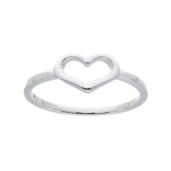 Zilveren damesring - open hart