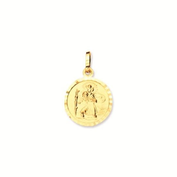 Gouden christoffel - 12 mm - rond - met rand