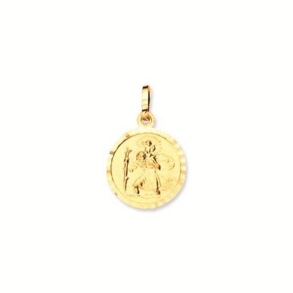 Gouden christoffel - 14 mm - rond - met rand