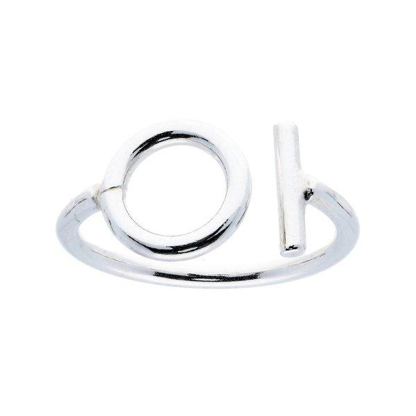 Zilveren damesring - cirkel en staafje