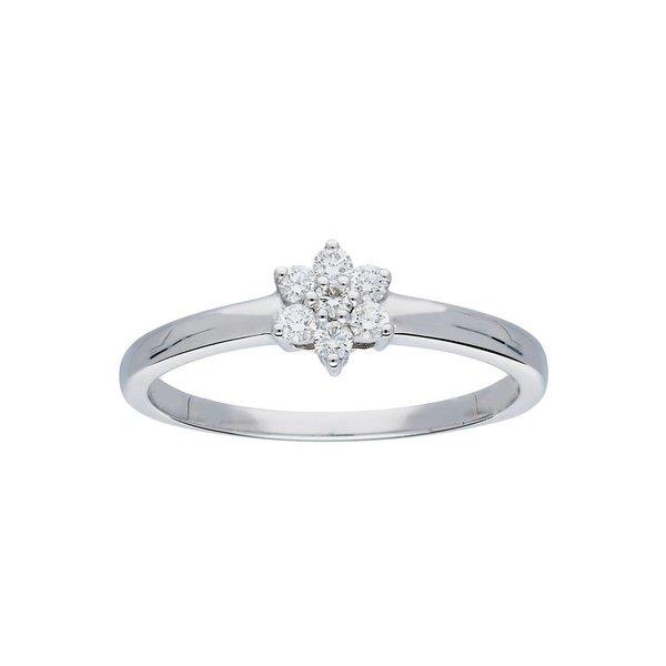 Witgouden ring - glanzend - diamant - 7- 0.145ct