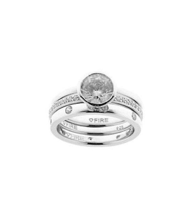 Diamonfire Zilveren combinatiering diamonfire - Maat 16.0 - glad - solitaire - bezette ring
