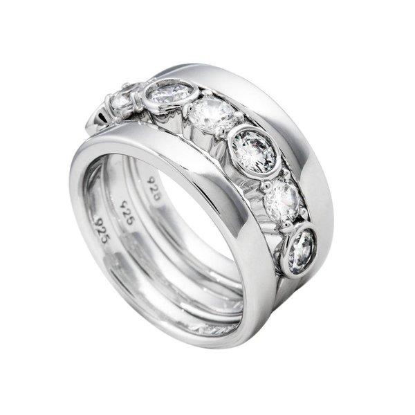 Zilveren combinatiering diamonfire
