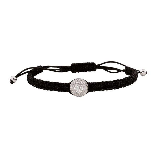 Zijden symboolarmband - zilveren bal met zirkonia