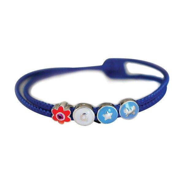 Leren wikkelarmband - blauw