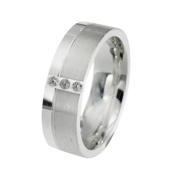 Zilveren vriendschapsring - 6 mm - 3 x zirkonia