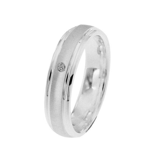 Zilveren vriendschapsring - 5 mm - 1 x zirkonia