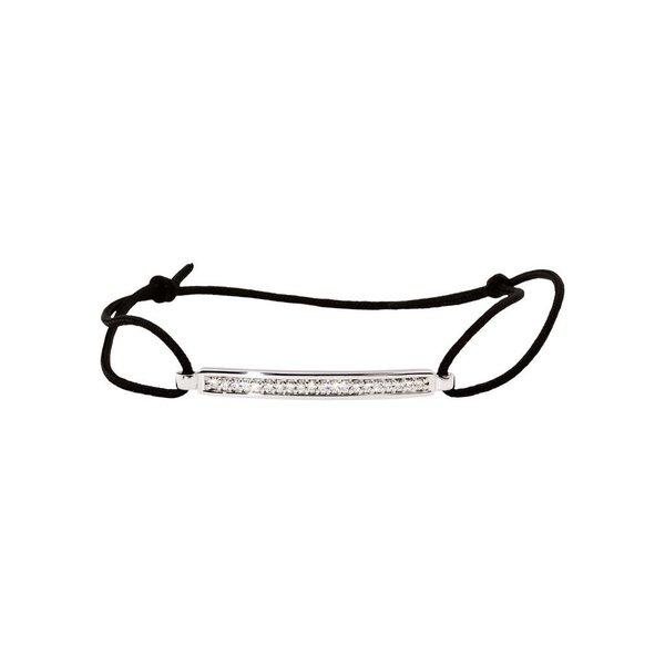 Zilveren knooparmband - zwart met zirkonia - 19 cm