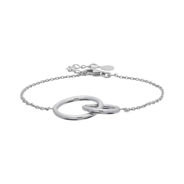 Zilveren schakelarmband met open cirkels