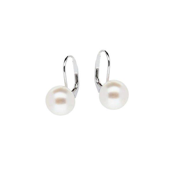 Zilveren oorhangers - zoetwaterparel - wit