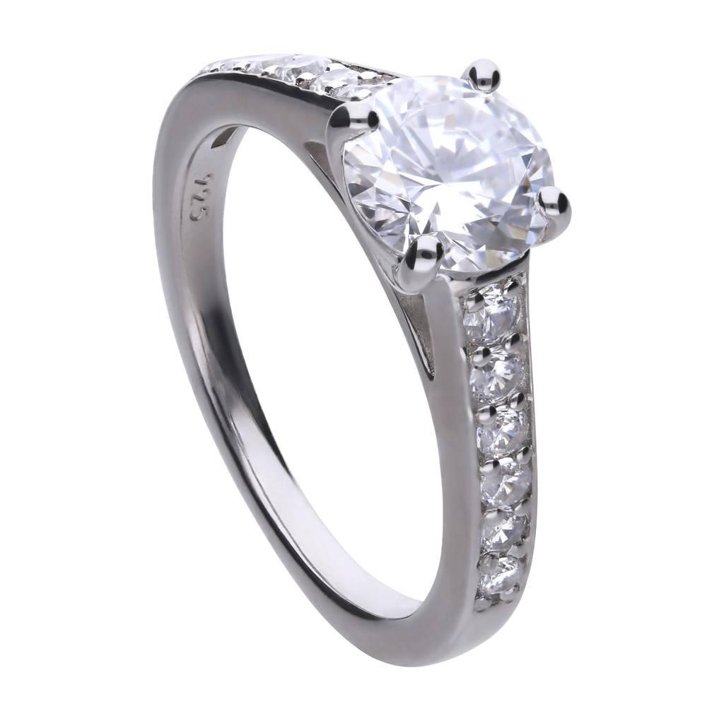 a70d1426478 Diamonfire Zilveren solitaire ring diamonfire - Maat 18.0 - solitaire met  bezette band ...