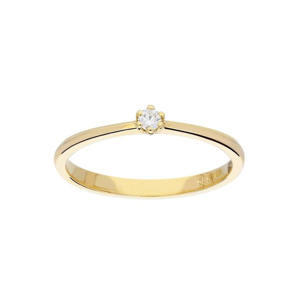 Gouden ring - glanzend - diamant - 1-0.05ct - g/si