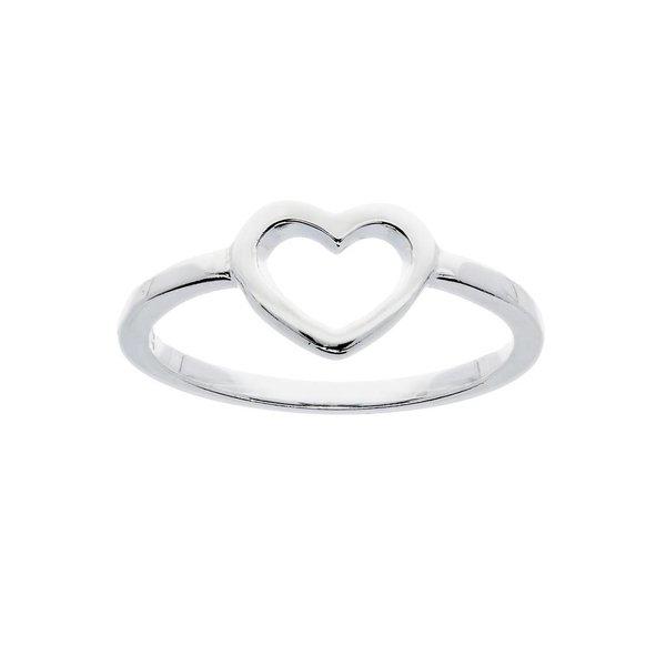 Zilveren kinderring - open hart