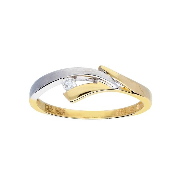 Gouden ring - bicolor - mat glanzend - diamant