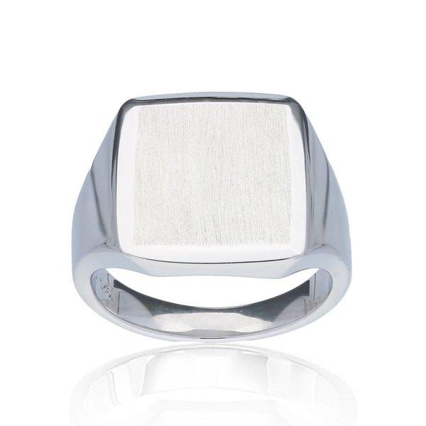 Zilveren herenring - vierkant - massief