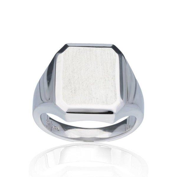 Zilveren herenring - rechthoekig - massief