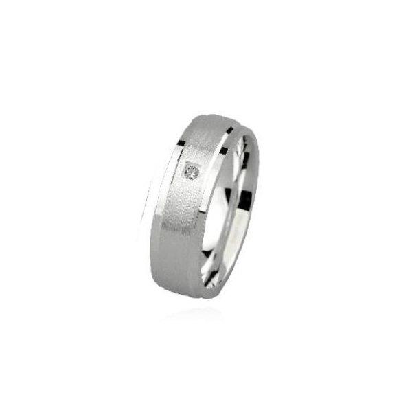 Zilveren vriendschapsring - 6 mm - 1 x zirkonia