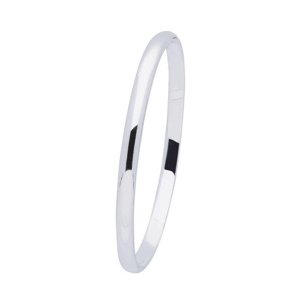 Zilveren massieve slavenband 5 mm - ovaal 60 mm