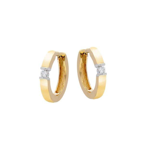 Gouden klapcreolen - bicolor - diamant - 2-0.06ct