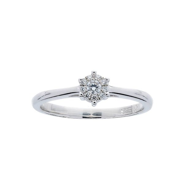 Witgouden ring - glanzend - diamant - 10-0.08ct