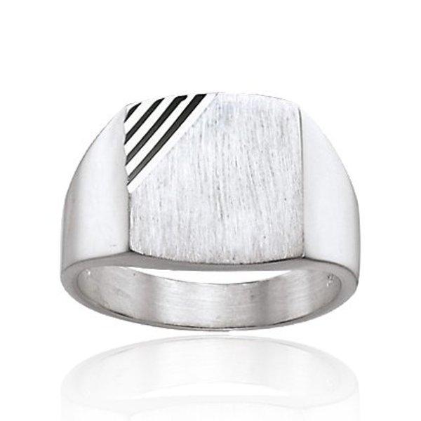 Zilveren herenring - rechthoek mat glanzend
