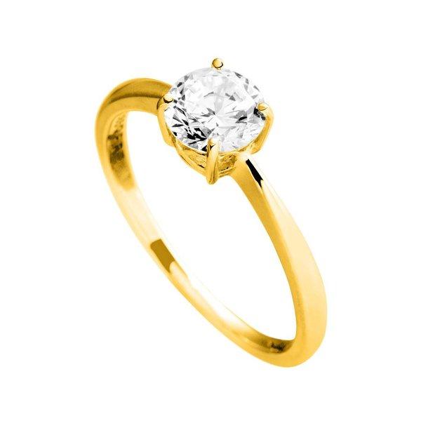 Gouden solitaire ring diamonfire