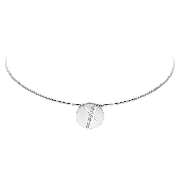 Zilveren hanger - rond - mat glanzend - zirkonia