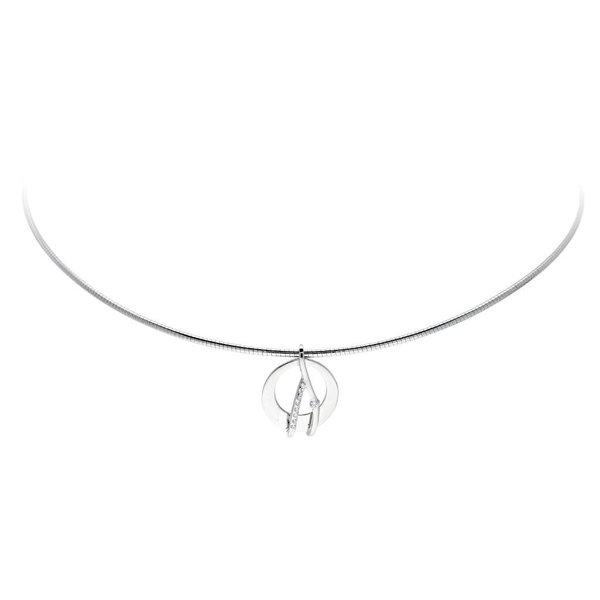 Zilveren hanger - rond - glanzend - zirkonia