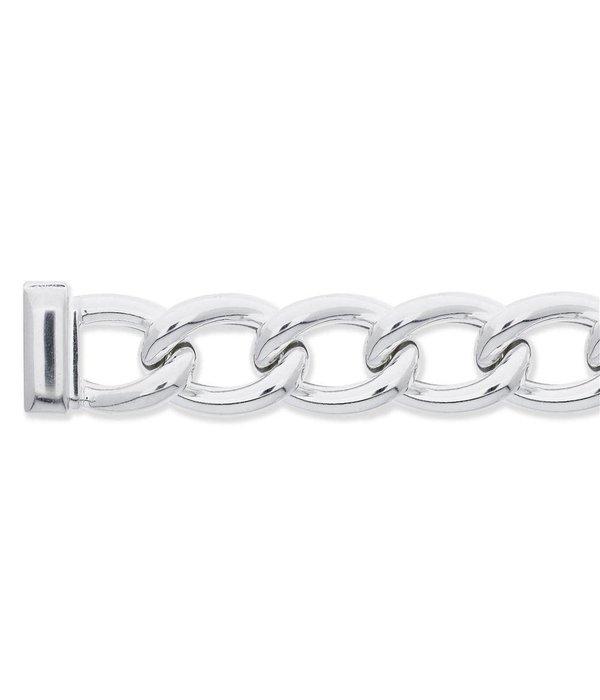 Best basics Zilveren schakelarmband - laatste stuks! - Open gourmetschakel 29 mm met kastslot
