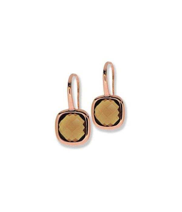 City Zilveren oorhangers haak city - Rosé smokey quartz vrknt 10mm haak