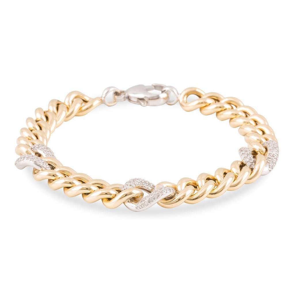 Elegance Zilveren schakelarmband elegance - Goldplated gourmet met zirkonia