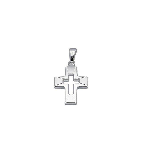 Religious Zilveren kruisje - opengewerkt - massief -