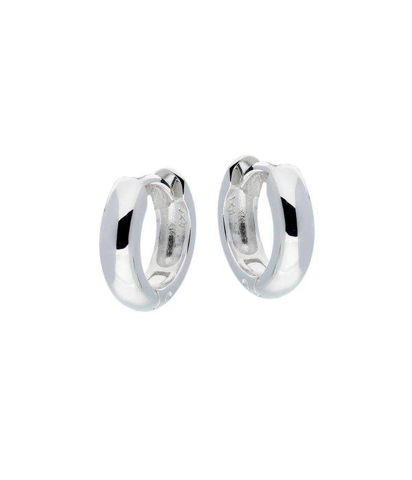 Best basics Zilveren klapcreolen - ronde buis 4 mm -