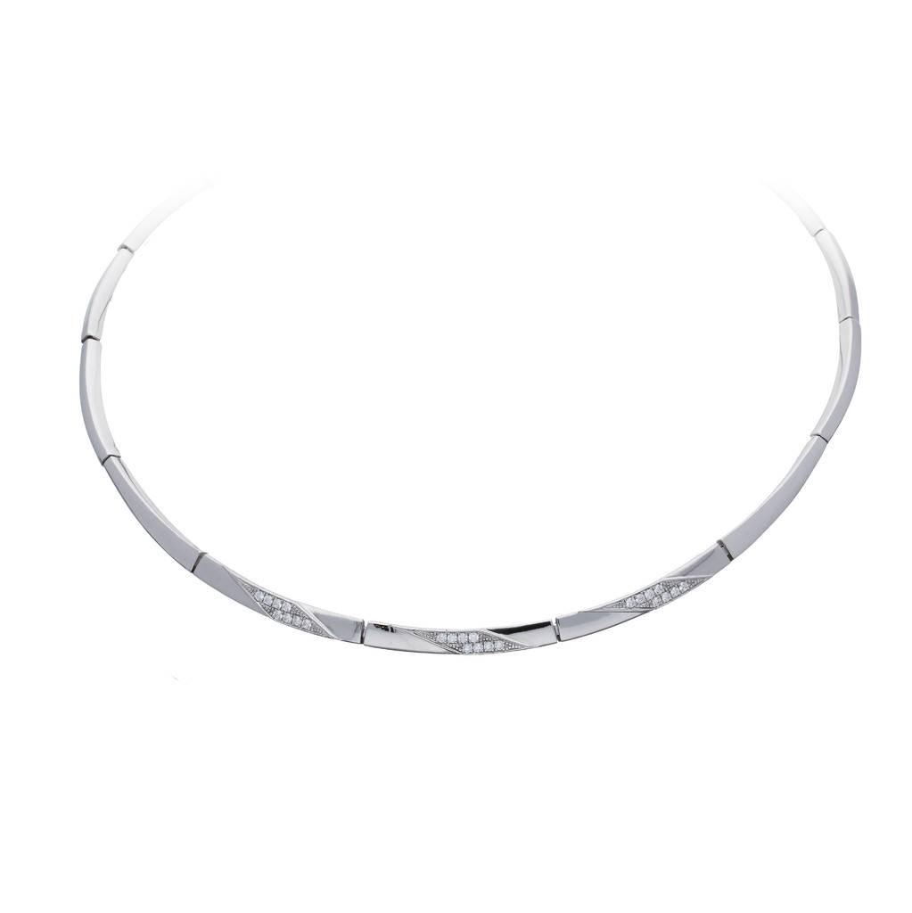 Elegance Zilveren choker elegance - 45 cm - gerodineerd - zirkonia