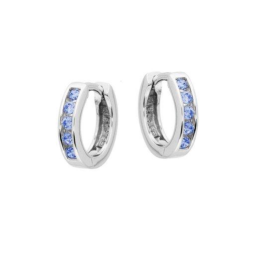 Zilveren klapcreolen - blauwe zirkonia