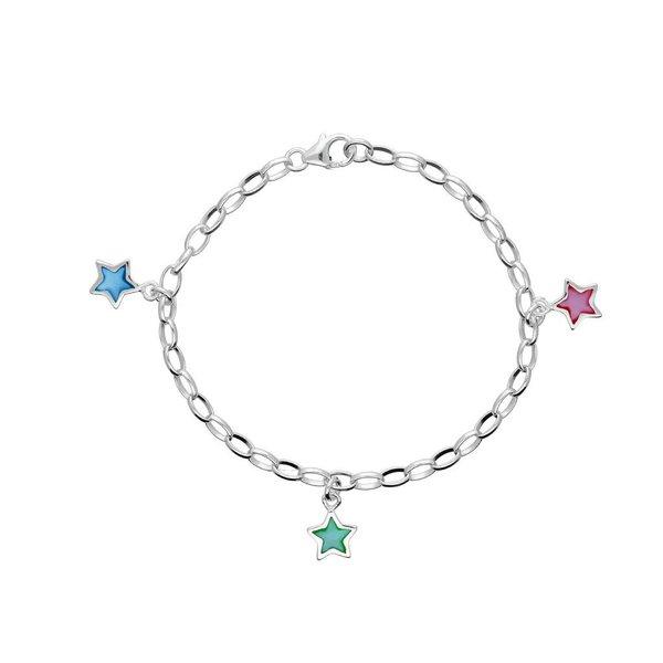 Zilveren bedelarmband - jasseron - pastel ster