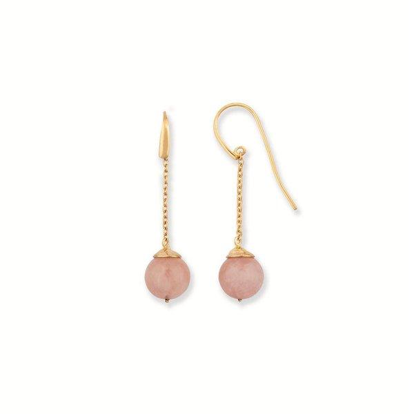Zilveren oorhangers - hollandse haak - rozenkwarts