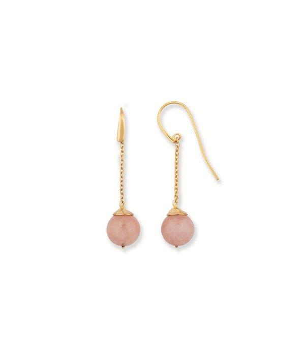 City Zilveren oorhangers - hollandse haak - rozenkwarts - Gold-plated