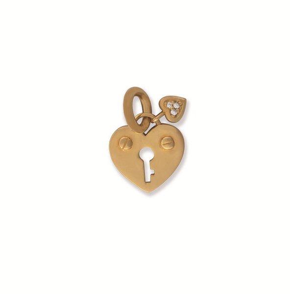 Zilveren hanger - hart - slot - gold plated