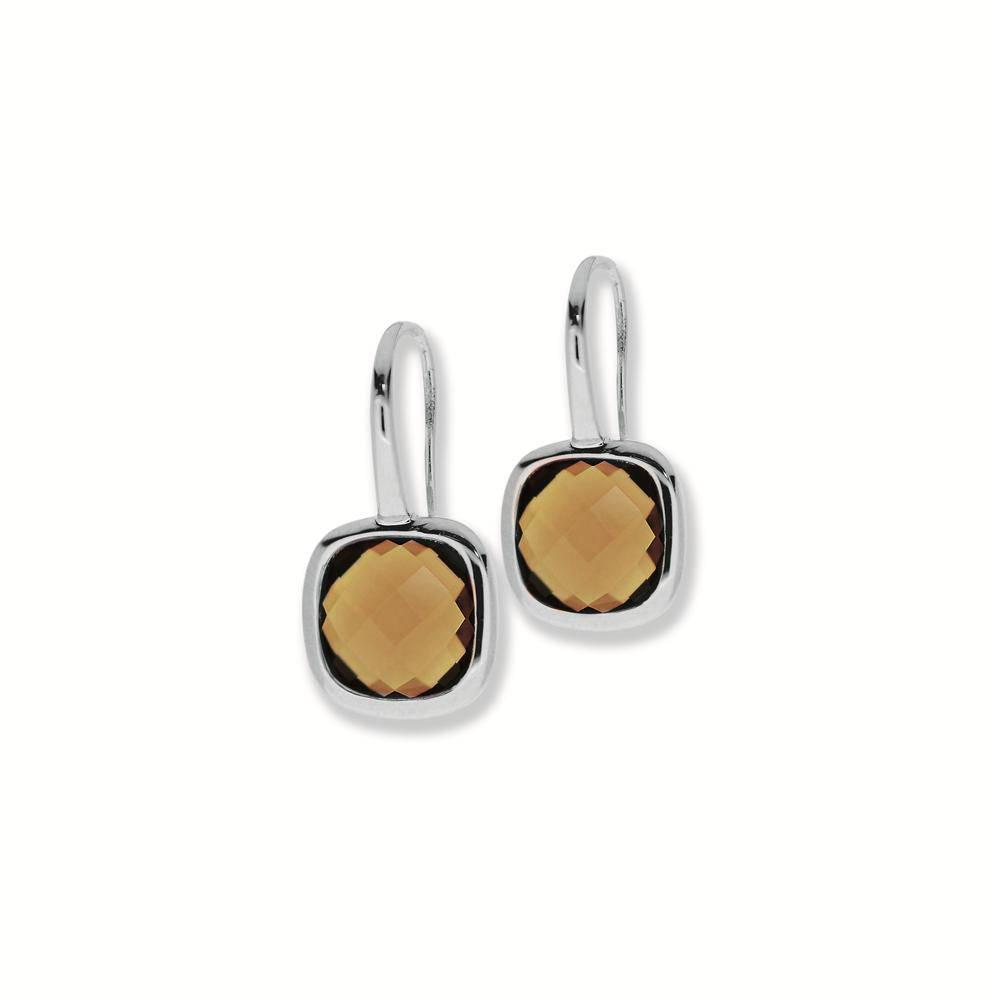 City Zilveren oorhangers city - Rh smoky quartz vrknt 10mm