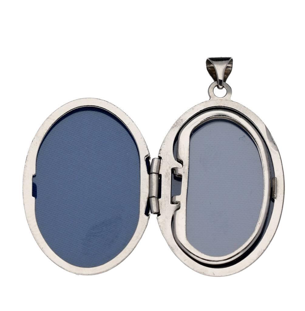 Best basics Zilveren medaillon - 29x19mm - bewerkt -