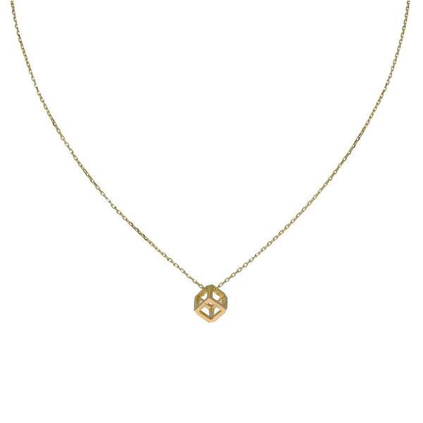 Gouden collier met hanger - open kubus