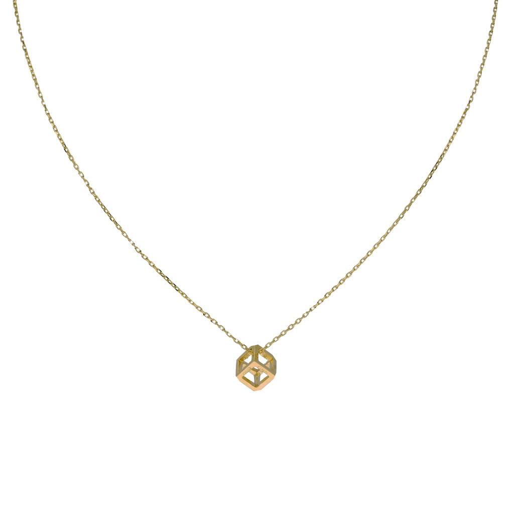 Glow Gouden collier met hanger - open kubus - 42+2cm