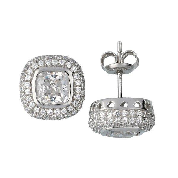 Zilveren oorknopjes met steen - vierkant zirkonia