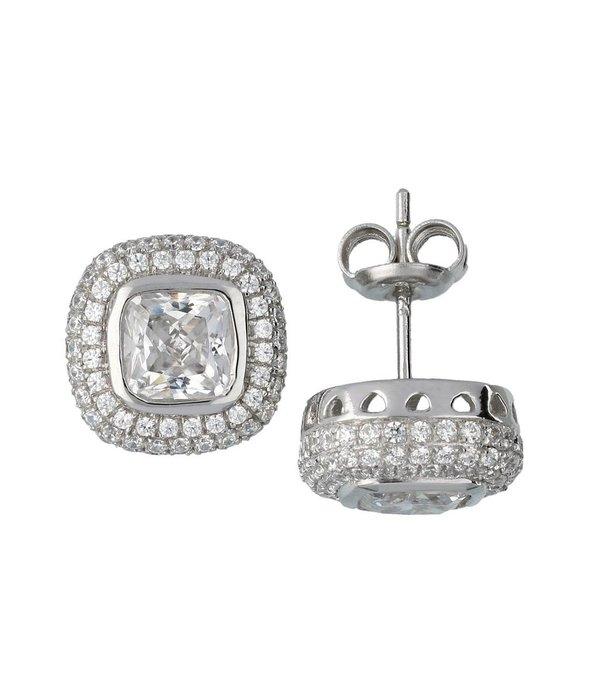 Classics Zilveren oorknopjes met steen - vierkant zirkonia - Gerodineerd