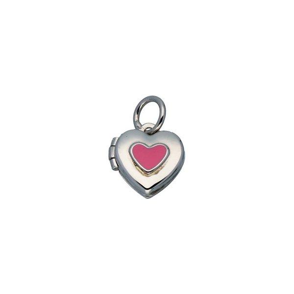 Zilveren kindermedaillon - hart met roze - 10mm