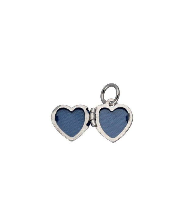 Lilly Zilveren kindermedaillon - hart met roze - 10mm -
