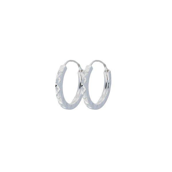 Zilveren draadcreolen - bewerkt 12 mm