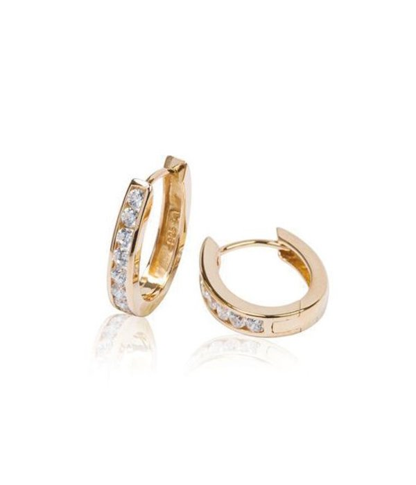 Best basics Zilveren klapcreolen - gold-plated - ovaal - Zirkonia - vierkante buis